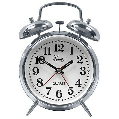 Equity Twin Bell Battery Operated Alarm Clock - Silver