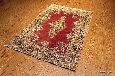 VINTAGE PERSIAN 4x6 ft. Authentic circa 1930's Coral Red floral rug #PM75