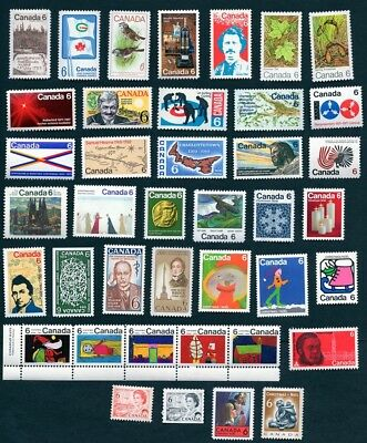 Canada Collection of 40 Different 6 Cent Stamps MNH
