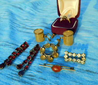 antique vintage jewellery job lot brooches ring stamped gold silver