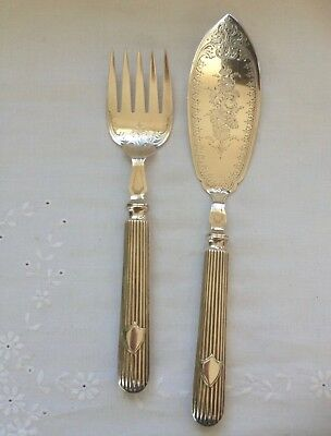 Nice Antique Pair Silver Plated Fish Servers