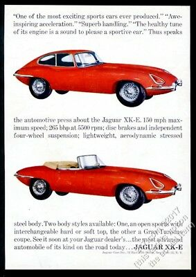 1962 Jagaur XKE coupe and convertible 2 red car photo vintage print ad