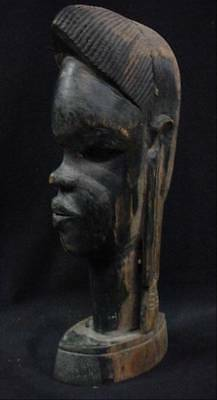 Stunning Antique Carved Tribal African Woman Bust Blackwood Carved Signed MN