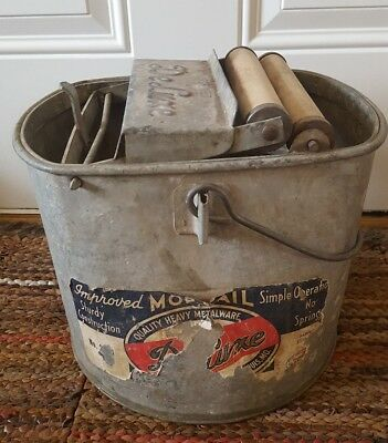 VINTAGE DeLuxe Galvanized Metal Mop Pail Bucket w/ Wood Rollers USA ☆Free Ship☆