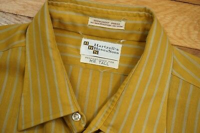 Men's 60s 70s * Gold / Blue * Stripe Vintage Dress Shirt - 17 36 Long Tall SUAVE