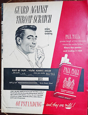 ORIGINAL FULL PG ADVERT FROM 1950 MAGAZINE - Pall Mall Cigarettes - Puff by Puff