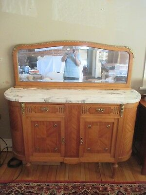 Mahogany Marble Top Sideboard Beveled Mirror Ornate Guilt Trim Louis XVI Style
