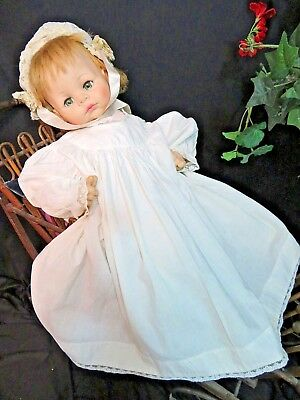 Original ANTIQUE Edwardian era child BOY GIRL doll DRESS linen LACE trim 24-32""
