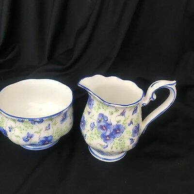 Royal Albert Blue Pansy Chintz Miniature open Sugar Bowl and Creamer Pitcher Eng