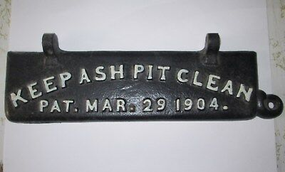 Antique Cast Iron Wood Stove Ash Door Plate Cover Pat March 29 1904