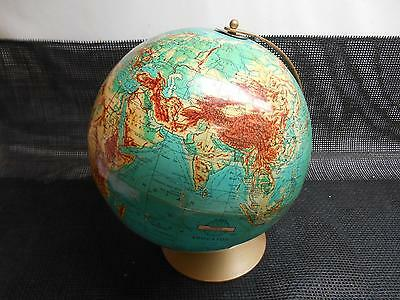 """Old Vtg 1940s WEBER COSTELLO 12"""" WORLD GLOBE Physical Contour Relief"""