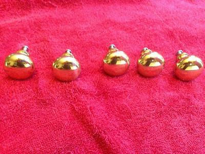 """Lot 5 Solid Heavy Brass Cabinet Drawer Knobs Pulls 1 1/4"""" round gold tone MINT!"""