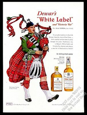 1951 Clan Stewart tartan bagpipes piper Dewar's Scotch Whisky vintage print ad
