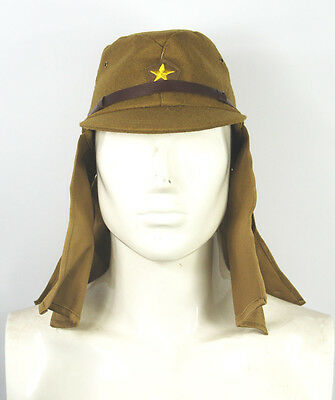 Wwii Japanese Army Soldier Field Wool Cap Hat With Havelock Neck Flap -32806