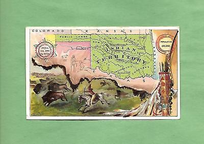INDIAN TERRITORY, OKLAHOMA MAP On ARBUCKLE COFFEE #99 Victorian Trade Card
