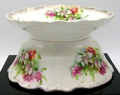 KNOWLES TAYLOR & KNOWLES CHINA Early LADIES SPITTOON or CUSPIDOR ~ COLOR FLORALS