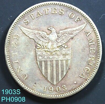 PHILIPPINES Peso 1903-S circulated 90% silver coin with some dark spots