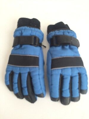 Youth Small 4-7 Blue Black winter ski snowboard snow gloves reinforced palm