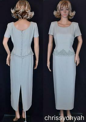 Donna Morgan Sage Green Crepe Cording Pearl Straight Line Mother Cocktail Dress