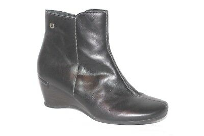 0829bdd7b65 Pikolinos Black Leather Zip Wedge Ankle Booties Boots Womens 39   8.5