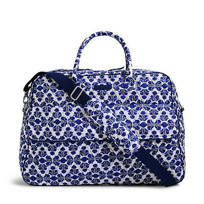 VERA BRADLEY Grand Traveler Weekend Carry On Bag Luggage Duffel Cobalt Tile
