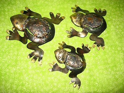Tin and Dripped Copper Frog Family set of 3  Mexican Metal Art Nice Gift