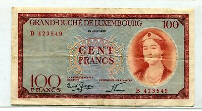 Luxembourg 100 Francs 1956 Vf 7.25