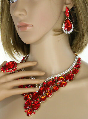 Gold Plated Red Ruby Rhinestone Crystal Necklace Earring & Ring Wedding Set
