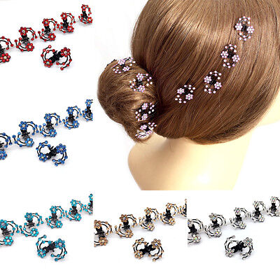 Ba_ 6Pcs Mini Headwear Rhinestone Bridal Hair Claws Blossom Flower Hair Pins Sel