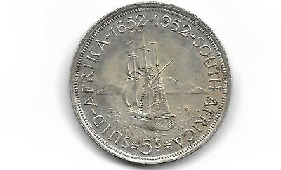 South Africa 1952 5 shillings silver coin