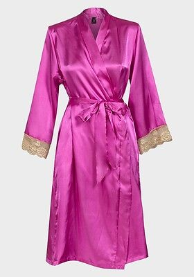 Beautiful pink  silky satin lace cuff wrap - dressing gown large