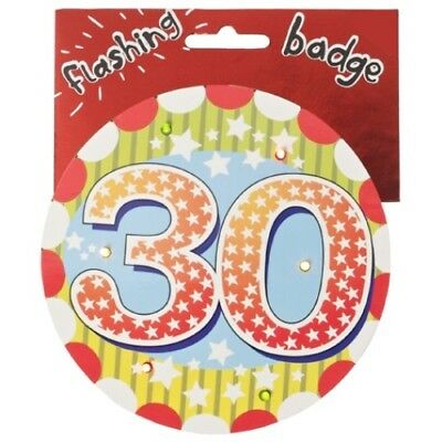 30th Birthday Jumbo Flashing Party Badge Age 30 Big Badges Birthdays