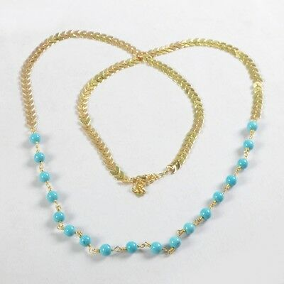 """31"""" 6mm Round Ball Blue Howlite Turquoise Long Chain Necklace B051553"""
