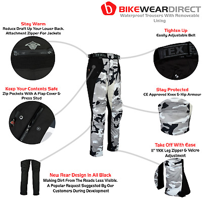Camo Motorbike Motorcycle Trousers Waterproof CE Armoured Grey Camouflage Black