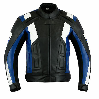 Texpeed Mens Veneto Black & Blue Cowhide Leather Motorcycle / Motorbike Jacket