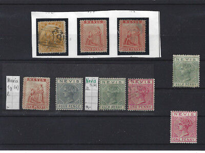 St. Kitts-Nevis 1862-1882 - 9 classic mint* and used stamps and one postcard