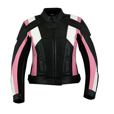 Womens Black & Pink Leather Motorcycle Motorbike Jacket With Removable CE Armour