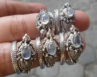 5X 925 Sterling Silver Balinese Dragon Ring Free Size With Rainbow Moonstone