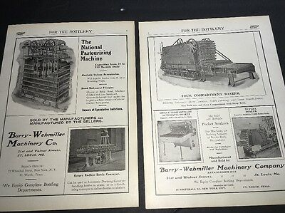 Barry Wehmiller Pasteurizing & B 2 Page Beer Ad 1908 Brewery Equipment St Louis