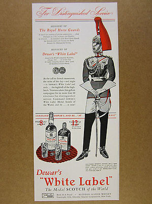 1942 Royal Horse Guards cavalry uniform art Dewar's Scotch vintage print Ad