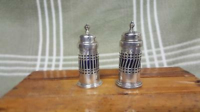 Antique Cobalt Blue & Sterling Silver Salt & Pepper Shakers J.R. Ltd. Birmingham