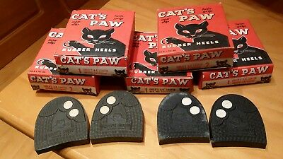 5 Pair NOS Cats Paw Rubber Shoe Heels Brown & Black