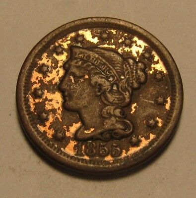 1855 Braided Hair Large Cent Penny - Damaged Condition - 51SA-2