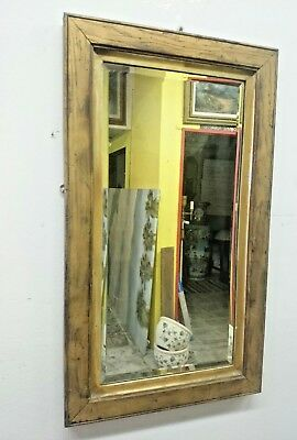 VINTAGE MIRROR Stained Oak Brass Accent Wooden Frame Multi Hanger Wall Decor