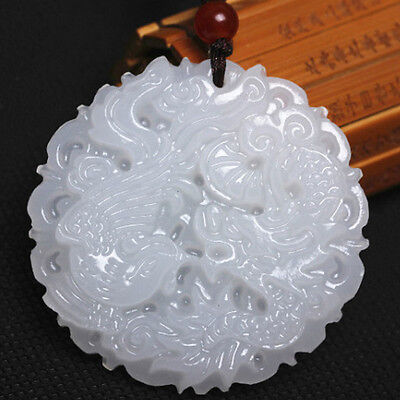 White Chinese Jade Natural Hand-carved Pendant Dragon Phoenix Amulet Charm Gifts