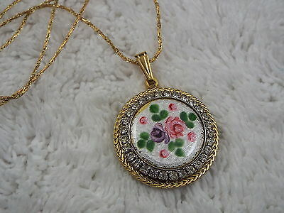 Goldtone Rhinestone Pink Purple Guilloche Flower Pendant Necklace (B13)