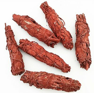 Set of 3 RED Sage Smudge Stick House Cleansing Negativity Cleanse