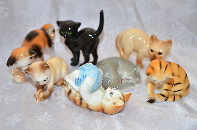 7  Cats of Character figurines by Danberry Mint Miniatures origanal stickers Lot