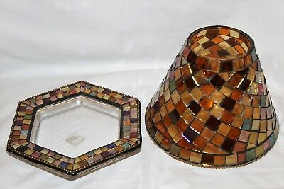 PartyLite Global Fusion Mosaic Decorative Shade and Tray Tealight