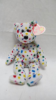 TY Retired Beanie Original Baby TY 2K Party Confetti Bear